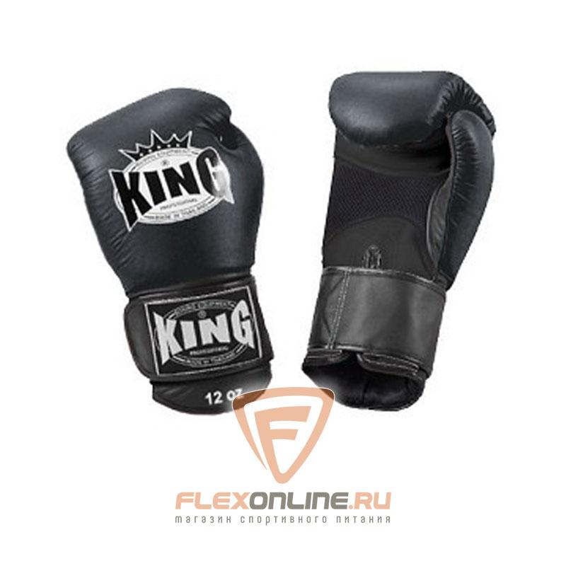 Боксерские перчатки Перчатки боксерские тренировочные на липучке 12 унций чёрные от King