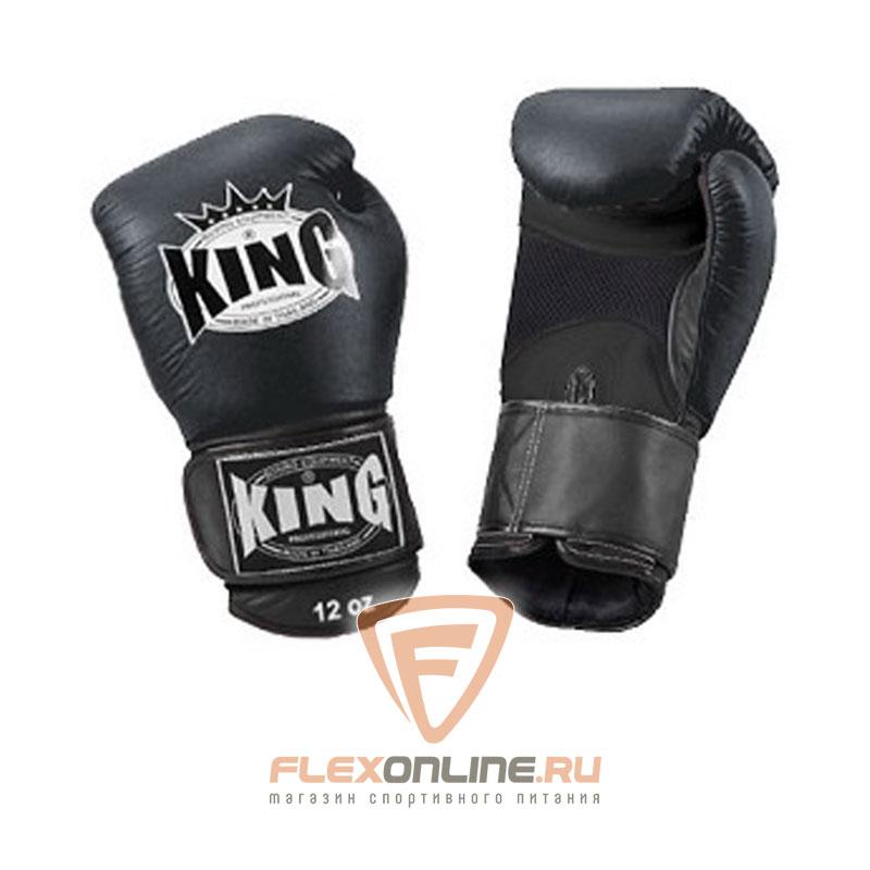 Боксерские перчатки Перчатки боксерские тренировочные на липучке 16 унций чёрные от King