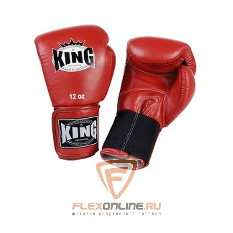 Боксерские перчатки Перчатки боксерские тренировочные на липучке 8 унций красные от King