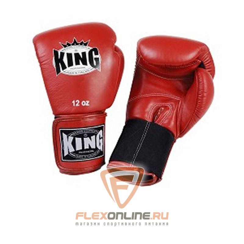 Боксерские перчатки Перчатки боксерские тренировочные на липучке 12 унций красные от King