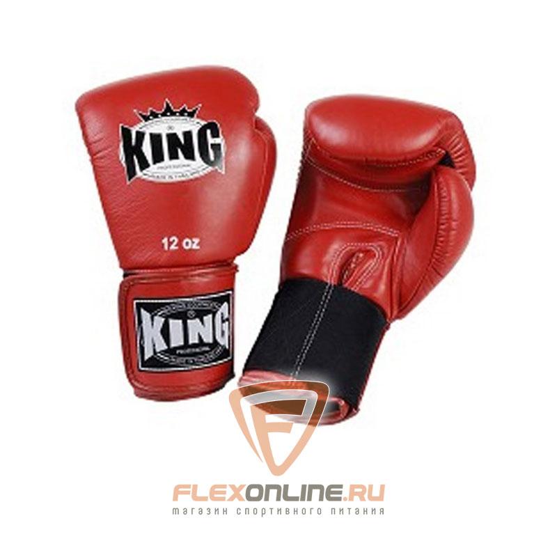 Боксерские перчатки Перчатки боксерские тренировочные на липучке 14 унций красные от King