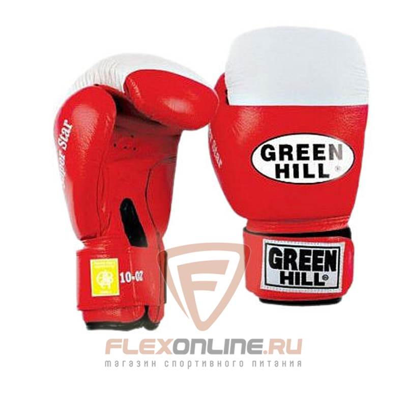 Боксерские перчатки Перчатки боксерские SUPER STAR 16 унций красные от Green Hill