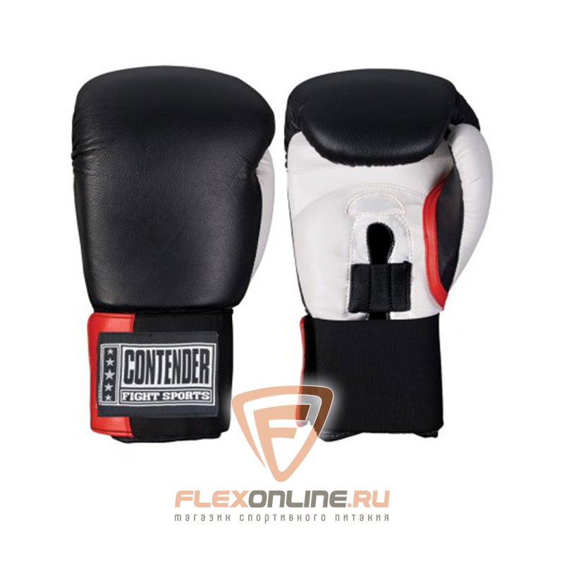 Боксерские перчатки Перчатки боксерские тренировочные на липучке 16 унций чёрно-белые от Contender
