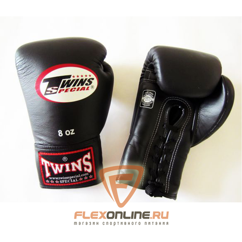 Боксерские перчатки Боксерские перчатки соревновательные на шнурках 8 унций черные от Twins