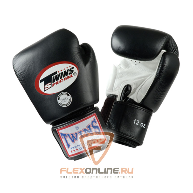 Боксерские перчатки Перчатки боксерские тренировочные 14 унций бело-чёрные от Twins