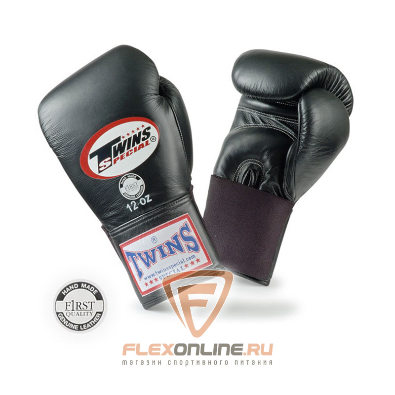 Боксерские перчатки Перчатки боксерские тренировочные на резинке 14 унций чёрные от Twins