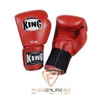 Боксерские перчатки Перчатки боксерские тренировочные на липучке 10 унций красные от King