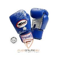Боксерские перчатки Перчатки боксерские тренировочные на липучке 16 унций синие от Twins