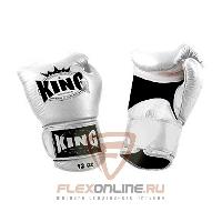 Боксерские перчатки Перчатки боксерские тренировочные на липучке 8 унций белые от King