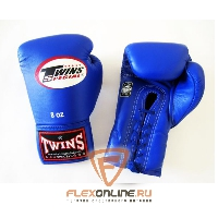 Боксерские перчатки Боксерские перчатки соревновательные на шнурках 10 унций синие от Twins