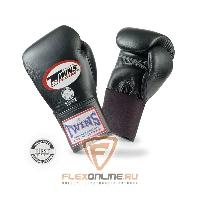 Боксерские перчатки Перчатки боксерские тренировочные на резинке 12 унций чёрные от Twins